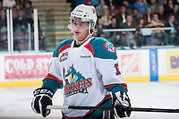 KELOWNA, CANADA - JANUARY 24: JT Barnett #17 of the Kelowna Rockets stand on the ice against the  Seattle Thunderbirds at the Kelowna Rockets on January 24, 2013 at Prospera Place in Kelowna, British Columbia, Canada (Photo by Marissa Baecker/Shoot the Breeze) *** Local Caption ***