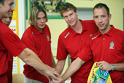 Alexey Peskov,Boris Vodisek, Tomas Reznicek,Luka Scurek and Nikola Kojic  at press conference of handball club RK Celje Pivovarna Lasko before new season 2008/2009, on September 2, 2008 in Celje, Slovenia. (Photo by Vid Ponikvar / Sportal Images)