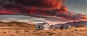 Dawn windcloud panorama, 1939 farm cottage (still in use as tea room for shearers), near Hawkdun Range, St Bathans, Central Otago.
