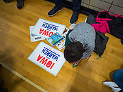 19 JANUARY 2020 - DES MOINES, IOWA: A child colors Elizabeth Warren posters during a campaign event Sunday. With just two weeks to go before the Iowa Caucuses, Sen. Warren is campaigning in the Des Moines area this weekend to support her effort to be the Democratic nominee for the US presidential race in 2020. Iowa traditionally hosts the first presidential selection event of the campaign season. The Iowa caucuses are Feb. 3, 2020.          PHOTO BY JACK KURTZ