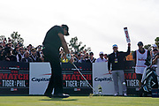 Nov 23, 2018; Las Vegas, NV, USA; Phil Mickelson plays his shot from the first tee during The Match: Tiger vs Phil golf match at Shadow Creek Golf Course.