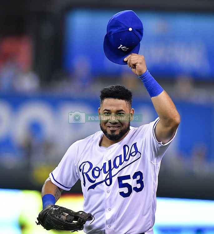 August 3, 2017 - Kansas City, MO, USA - Kansas City Royals right fielder Melky Cabrera acknowledges the cheers from fans and teammates after making a catch in foul territory against the wall for an out on the Seattle Mariners' Guillermo Heredia in the eighth inning at Kauffman Stadium in Kansas City, Mo., on Thursday, Aug. 3, 2017. The Royals won, 6-4. (Credit Image: © John Sleezer/TNS via ZUMA Wire)