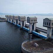 floodgates of Isahaya Bay dike in Nagasaki