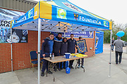 AFC Wimbledon foundation under a tent during the EFL Sky Bet League 1 match between AFC Wimbledon and Accrington Stanley at the Cherry Red Records Stadium, Kingston, England on 6 April 2019.