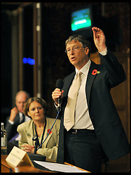 Bill Gates addresses the Conservatives Friends of International Development  with the Secretary of State for International Development Andrew Mitchell in the House of Commons, London, Tuesday November 2, 2011. Photo by Andrew Parsons/i-images
