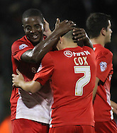 Picture by David Horn/Focus Images Ltd +44 7545 970036<br /> 17/09/2013<br /> Kevin Lisbie of Leyton Orient celebrates scoring his second goal of the game to make it 2-0 with Dean Cox during the Sky Bet League 1 match at the Matchroom Stadium, London.