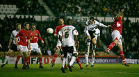 Arturo Lupoli (right, white, 16) heads Derby County goal no 2