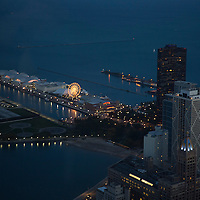 An aerial view of the Navy Pier on Lake Michigan as seen from the 96th floor of the John Hancock Center on Monday, Oct. 6, 2014 in Chicago, Illinois. (AP Photo/Alex Menendez)