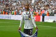 Fulham defender Ryan Sessegnon (3)  celebrates in front of the Fulham support during the EFL Sky Bet Championship play-off final match between Fulham and Aston Villa at Wembley Stadium, London, England on 26 May 2018. Picture by Dennis Goodwin.