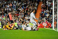 Real Madrid´s Alvaro Arbeloa marks a goal during 2014-15 La Liga match between Real Madrid and Almeria at Santiago Bernabeu stadium in Madrid, Spain. April 29, 2015. (ALTERPHOTOS/Luis Fernandez)