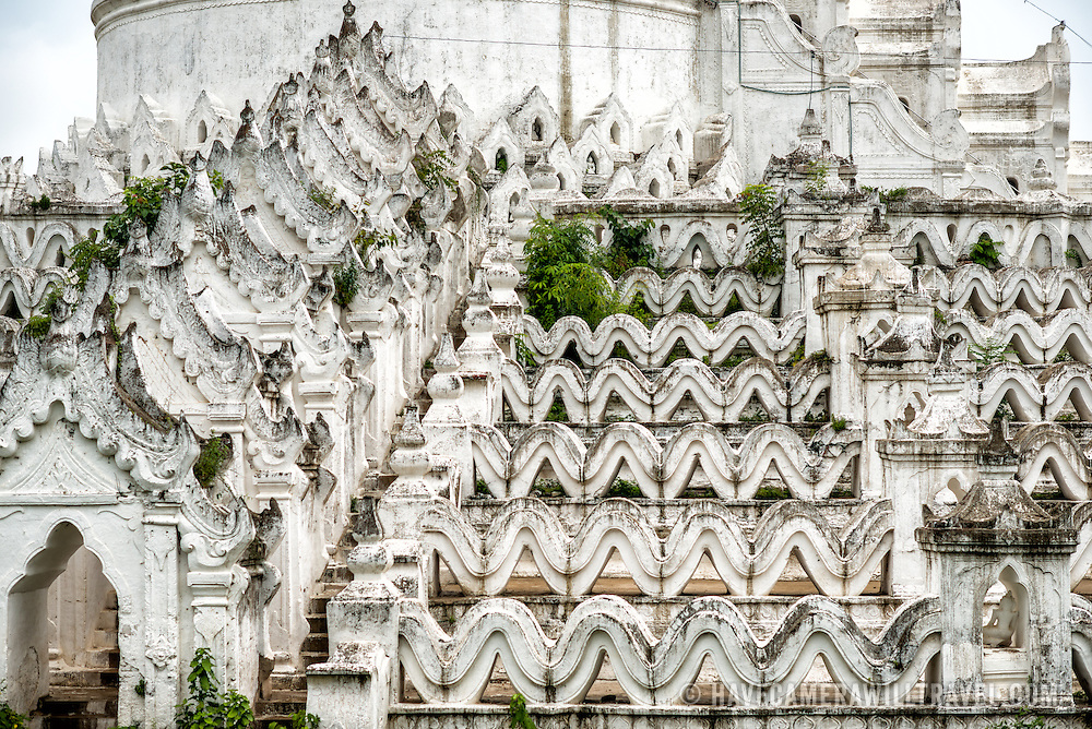MINGUN, Myanmar - Built in 1816 and located in Mingun, not far from Mandalay, Hsinbyume Pagoda is designed in inspiration from Buddhist mythological mountain, Mount Meru. It features 7 levels of distinctive and unique whitewashed waves.