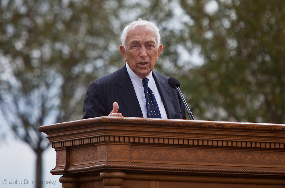 Frank Raleigh Lautenberg Former Senator from New Jersey  speaking at  the Empty Sky Memorial 9/11 Memorial at Liberty State Park in New Jersey  by  the Architect  Frederic Schwartz opens on September 10th 2011 for the tenth anniversary of 9/11. The memorial is two 30-Ft rectangular towers  208 feet by 10 inches long,  the width of the World Trade Center towers and with the names of the 746 New Jerseyans who perished after the terrorist attacks on 9/11, 2001  etched in stainless steel.