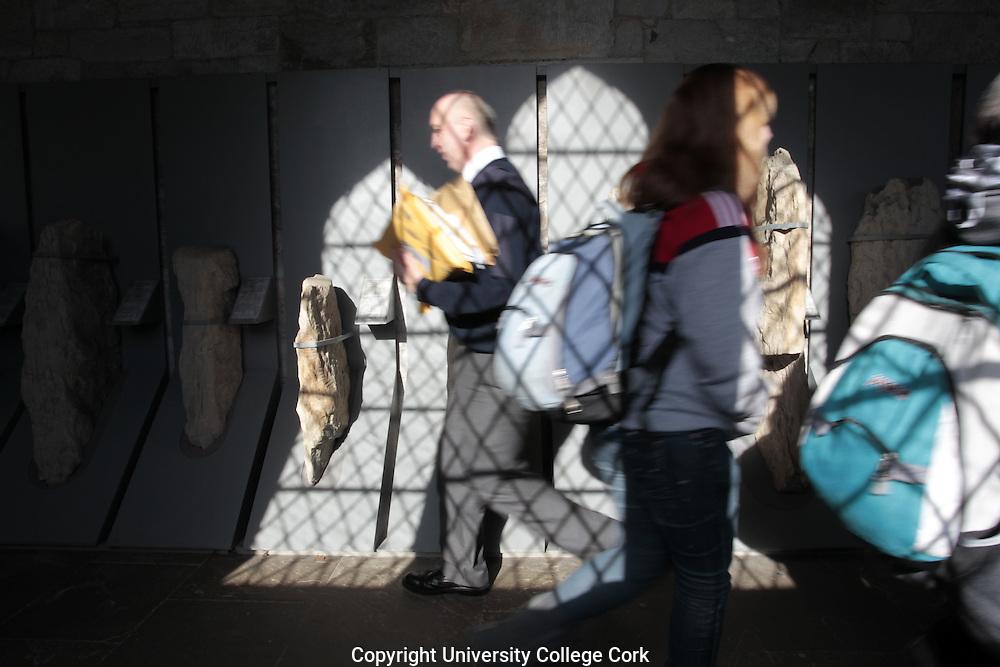 Stone Corridor, University College Cork. Ogham Stones. Photograph by Tomas Tyner, UCC.