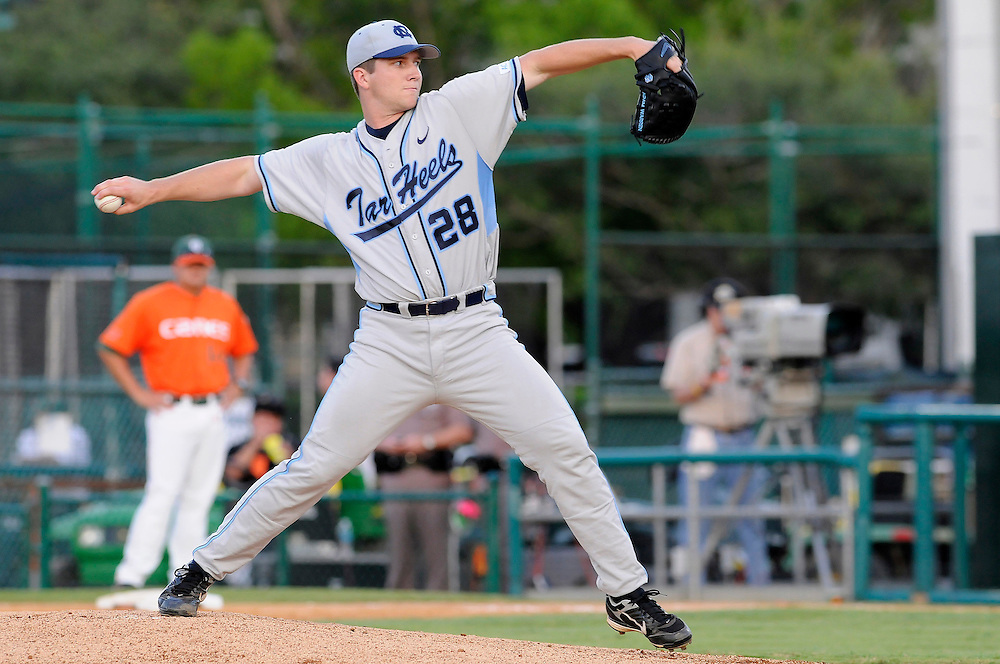 May 16, 2008 - Coral Gables, FL<br /> <br /> Adam Warren #28 of the University of North Carolina in action during the Tar Heels 10-6 victory over the Miami Hurricanes at Mark Light Field at Alex Rodriguez Park in Coral Gables, Florida.<br /> <br /> JC Ridley/CSM