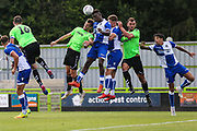 Forest Green Rovers Christian Doidge(9) goes up to head the ball during the Pre-Season Friendly match between Forest Green Rovers and Bristol Rovers at the New Lawn, Forest Green, United Kingdom on 21 July 2018. Picture by Shane Healey.