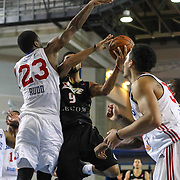 Erie BayHawks Guard Peyton Siva (9) drives towards the basket as Delaware 87ers Forward Victor Rudd (23) defends in the second half of a NBA D-league regular season basketball game between the Delaware 87ers and the Erie BayHawk (Orlando magic) Friday, Jan. 02, 2015 at The Bob Carpenter Sports Convocation Center in Newark, DEL
