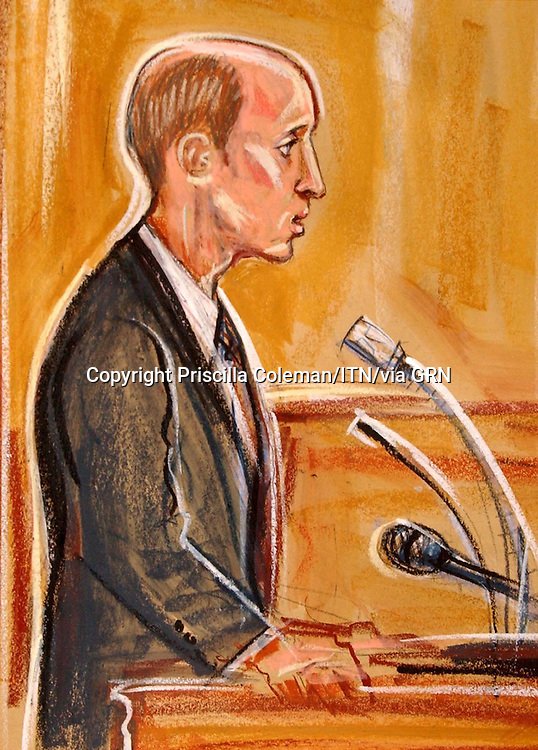 COPYRIGHT PRISCILLA COLEMAN ITV ARTIST 17.11.03.PICTURE SHOWS; MICHAEL GEE, CARETAKER AT SOHAM COLLEGE GIVING EVIDENCE IN THE TRIAL OF IAN HUNTLEY AND MAXINE CARRR AT THE OLD BAILEY IN LONDON TODAY.
