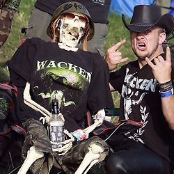 05.08.2011, Wacken, GER, W:O:A Wacken Open Air 2011, im Bild Party bis in den Tod mit Teufelsgruss und Skelett, EXPA Pictures © 2011, PhotoCredit: EXPA/ nph/  Kohring       ****** out of GER / CRO  / BEL ******