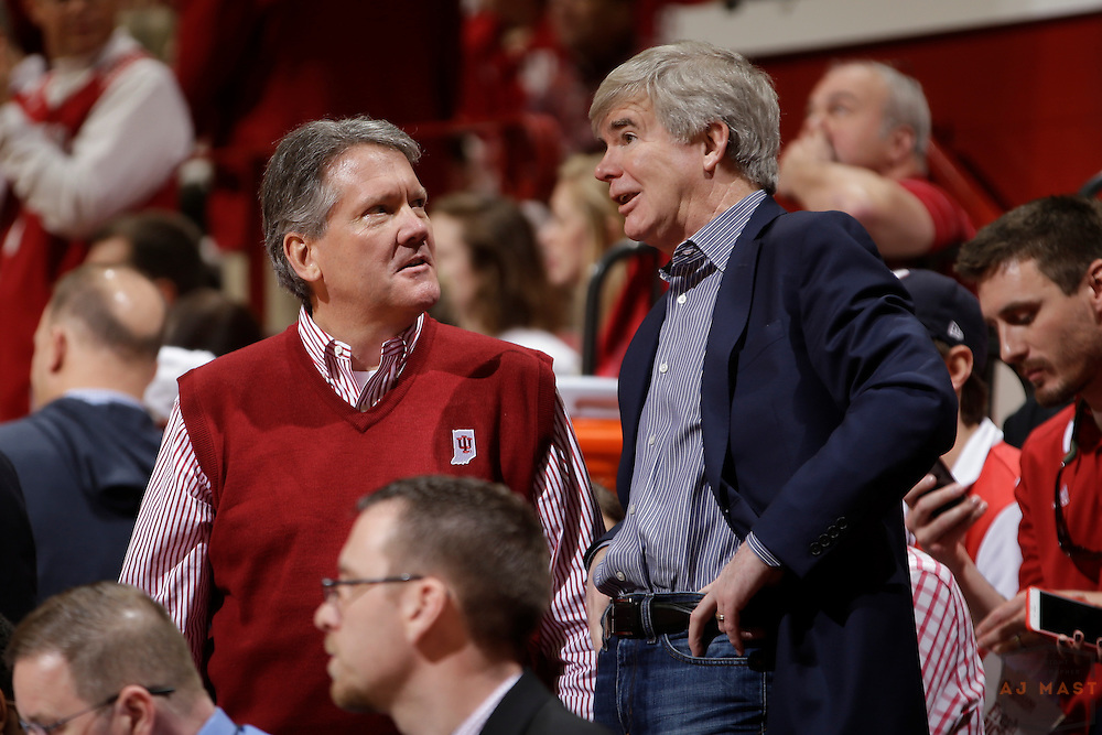 Indiana athletic director Fred Glass, left, and NCAA president Mark Emmert as Michigan played Indiana in an NCCA college basketball game in Bloomington, Ind., Sunday, Feb. 8, 2015. (AJ Mast / Photo))