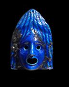 Faience Theatrical mask for offering. Roman Period A.D. 2nd century found at Egypt, Fayum, Medinet el-Fayum(Fayum, Krokodilopolis-Arsinoe)