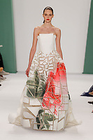 Auguste Abeliunaite walks the runway wearing Carolina Herrera Spring 2015 during Mecedes-Benz Fashion Week in New York on September 8th, 2014