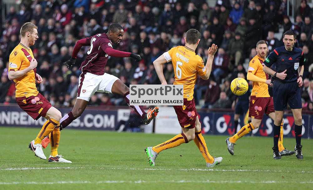 Hearts v Motherwell Scottish Premiership 16 January 2016; Arnaud Djoum (Hearts, 16) has a shot at goal during the Heart of Midlothian v Motherwell Scottish Premiership match played at Tynecastle Stadium, Edinburgh; <br /> <br /> &copy; Chris McCluskie | SportPix.org.uk