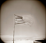 PL09705-00...GEORGIA - Holga image of American Flag on top of Brasstown Bald the highest point in Georgia.