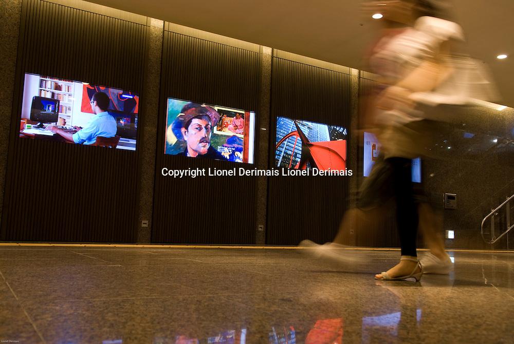 Seoul, South Korea Samsung flat screens in Samsung building,  Gangnam, Seoul, Korea.2009<br /> <br /> Ecrans plats Samsung dans le building Samsung, Gangnam, Seoul, Coree. 2009