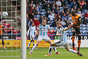 Hull City striker Abel Hernandez (9)  misses the target  during the Sky Bet Championship match between Huddersfield Town and Hull City at the John Smiths Stadium, Huddersfield, England on 9 April 2016. Photo by Simon Davies.