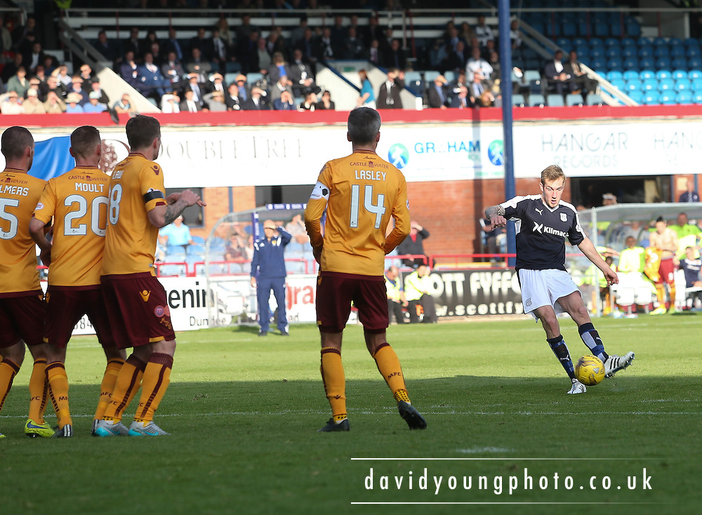 Dundee&rsquo;s Kevin Holt fires home a free kick for his side's second goal - Dundee v Motherwell - Ladbrokes Premiership at Dens Park<br /> <br /> <br />  - &copy; David Young - www.davidyoungphoto.co.uk - email: davidyoungphoto@gmail.com
