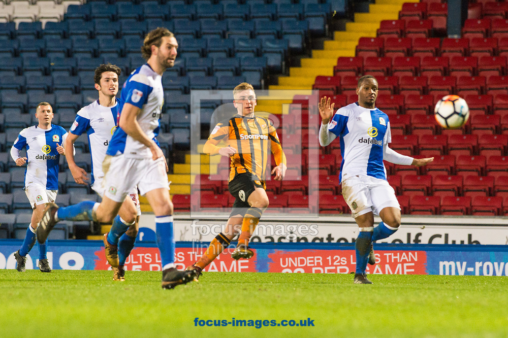 Jarrod Bowen of Hull City with a shot on goal during the FA Cup match at Ewood Park, Blackburn<br /> Picture by Matt Wilkinson/Focus Images Ltd 07814 960751<br /> 06/01/2018
