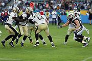 New Orleans Saints linebacker Manti Te'o (51) recovers a fumble during the 2017 NFL week 2 preseason football game against the Los Angeles Chargers, Sunday, Aug. 20, 2017 in Carson, Calif. The Saints won the game 13-7. (©Paul Anthony Spinelli)