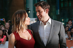 Actress EMILY BLUNT with her husband/actor JOHN KRASINSKI  at the 'Looper' opening night gala premiere at Roy Thompson Hall during the 2012 Toronto International Film Festival, Thursday September 6, 2012. Photo By Christopher Drost/i-Images
