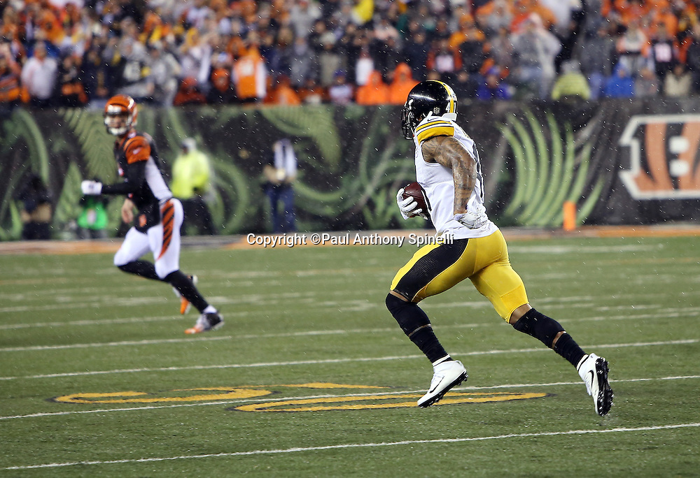 Pittsburgh Steelers cornerback Antwon Blake (41) runs with the ball after intercepting a second quarter pass and returning it 35 yards to the Cincinnati Bengals 41 yard line during the NFL AFC Wild Card playoff football game against the Cincinnati Bengals on Saturday, Jan. 9, 2016 in Cincinnati. The Steelers won the game 18-16. (©Paul Anthony Spinelli)