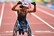 Kare Adenegan of Great Britain celebrates winning the Women's T34 100m and breaking the World Record (WR) at the Muller Anniversary Games, Day Two, at the London Stadium, London, England on 22 July 2018. Picture by Martin Cole.