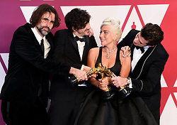 Andrew Wyatt, Anthony Rossomando, Mark Ronson and Lady Gaga, winners of Best Original Song for Shallow from A Star is Born in the press room at the 91st Academy Awards held at the Dolby Theatre in Hollywood, Los Angeles, USA