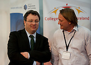 .Dr. Stephen Farry Employment and Learning Minister for Northern Ireland talks to Neil at The Colleges of Northern Ireland stand at  the ExCel Centre  in London on October 8th 2011.