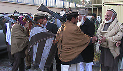 Taliban militants attend a surrender ceremony in Nangarhar province in eastern Afghanistan on Jan. 6, 2013. Six armed Taliban militants laid down their arms and joined the government-backed peace process in the Nangarhar province on Sunday., January 6, 2013. Photo by Imago / i-Images...UK ONLY
