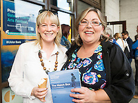 22/07/2015 repro free  Carol Burke and Edel Burke from Tuam at the Ulster Bank sponsored evening at The Galway International Arts Festival's production of Frank McGuinnesses'  The Match Box, starring Cathy Belton At the Town Hall Theatre. Photo:Andrew Downes.