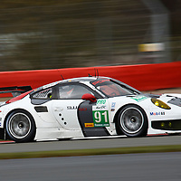 The no.91 Porsche RSR at speed during Friday morning practice (12 April 2013), FIA WEC 2013 6h of Silverstone