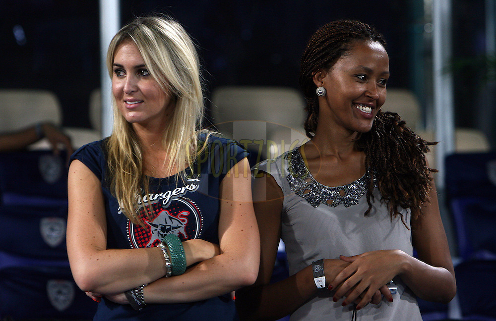 Sue Erasmus (L)  the girlfriend of JP Duminy during match 46 of the Indian Premier League ( IPL ) between the Deccan Chargers and the Delhi Daredevils held at the Rajiv Gandhi International Cricket Stadium in Hyderabad on the 5th May 2011..Photo by Money Sharma/BCCI/SPORTZPICS