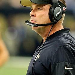 Oct 30, 2016; New Orleans, LA, USA; New Orleans Saints head coach Sean Payton against the Seattle Seahawks during the first quarter of a game at the Mercedes-Benz Superdome. Mandatory Credit: Derick E. Hingle-USA TODAY Sports