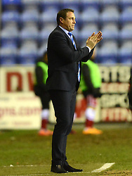Wigan Athletic Manager, Malky Mackay applauds - Photo mandatory by-line: Richard Martin-Roberts/JMP - Mobile: 07966 386802 - 24/02/2015 - SPORT - Football - Wigan - DW Stadium - Wigan Athletic v Cardiff City - Sky Bet Championship