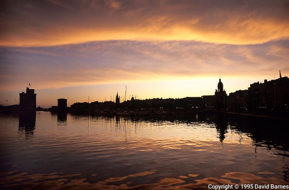 Vieux Port (Old Port) La Rochelle; Charante Maritime; .France; sunset