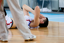 Serbian player sad because the loss during basketball match between National teams of Serbia and Spain in for third place match of U20 Men European Championship Slovenia 2012, on July 22, 2012 in SRC Stozice, Ljubljana, Slovenia. Spain defeated Serbia 67:66. (Photo by Matic Klansek Velej / Sportida.com)