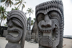 Kapu Ki'i wooden tiki statue carvings, made from the ohia tree, Pu'uhonua o Honaunau National Historical Park, The Big Island, Hawaii, United States of America