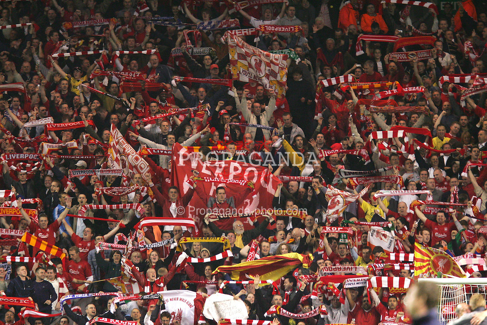 LIVERPOOL, ENGLAND. TUESDAY, MAY 3rd, 2005: Liverpool's fans on the Spion Kop celebrate victory over Chelsea during the UEFA Champions League Semi Final 2nd Leg at Anfield. (Pic by David Rawcliffe/Propaganda)