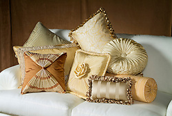 Decorative pillows on sofa