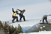 LG SNOWBOARD FIS WORLD CUP, CYPRESS MOUNTAIN, VANCOUVER, BRITISH COLUMBIA, CANADA - Men;s Snowboard cross, Simone Malusa (ITA) and Shaun Palmer (USA) : Photo by Peter Llewellyn