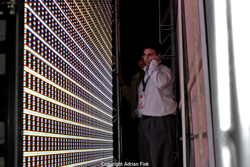 Checking lights before the Satya Paul show - India fashion week, Autumn - winter collections, New Delhi, April 2006